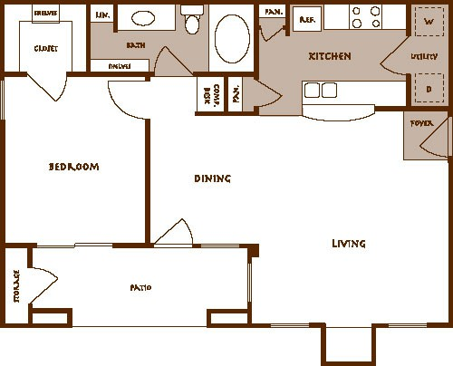 772 sq. ft. Adastra A2 floor plan