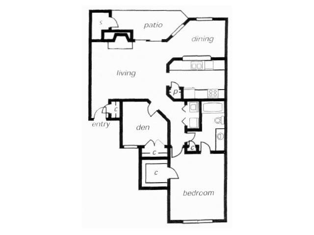 877 sq. ft. A3C floor plan