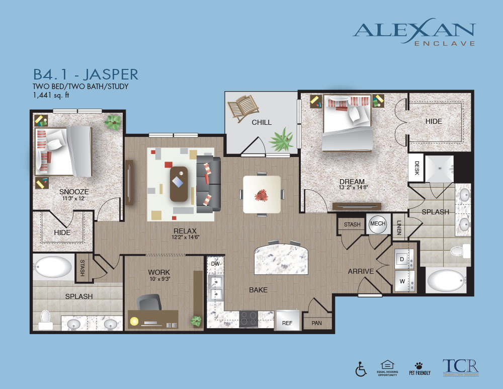 1,441 sq. ft. B4.1 floor plan