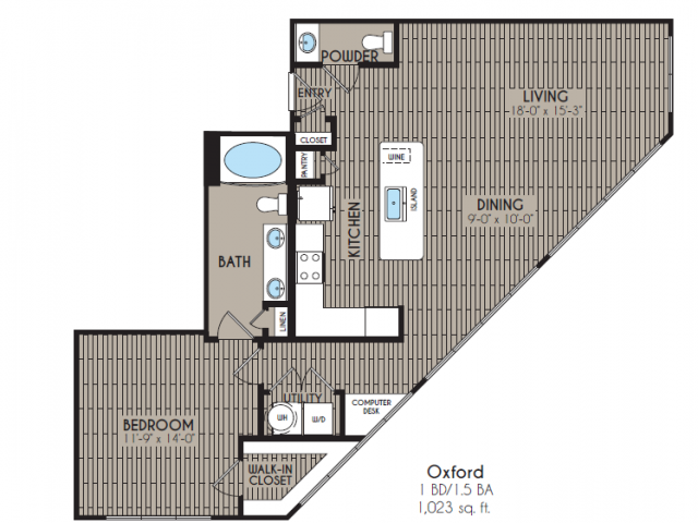 1,009 sq. ft. Oxford floor plan