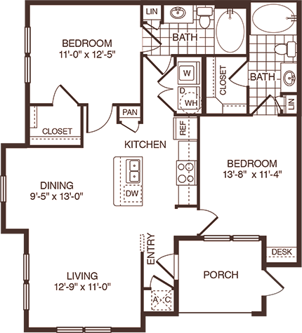 1,053 sq. ft. Lockhart floor plan