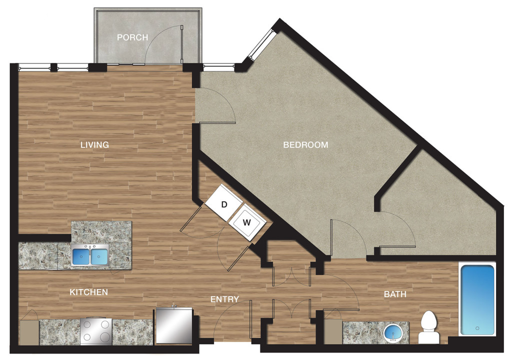 841 sq. ft. A5 floor plan