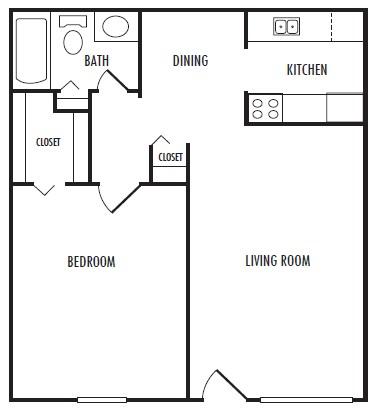 615 sq. ft. B floor plan