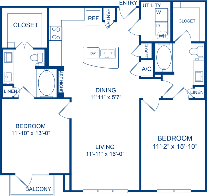 1,185 sq. ft. Sundrops floor plan
