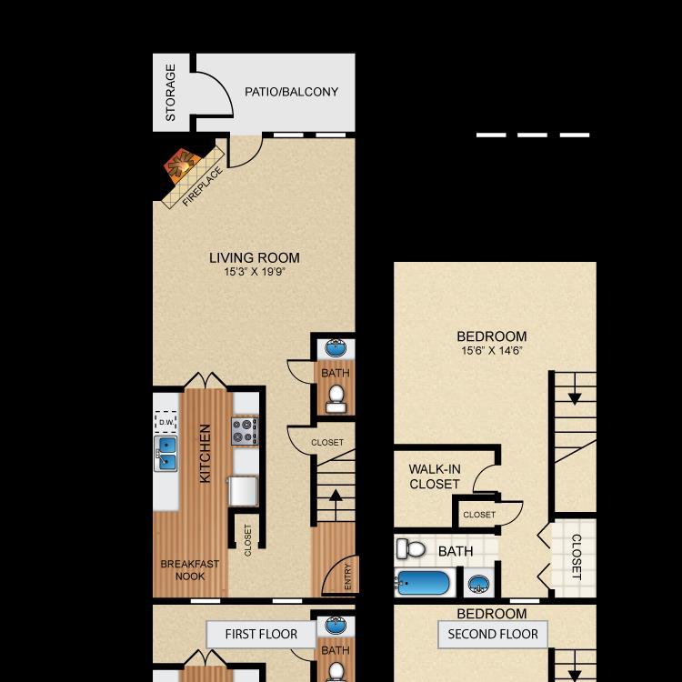 1,036 sq. ft. A4 floor plan