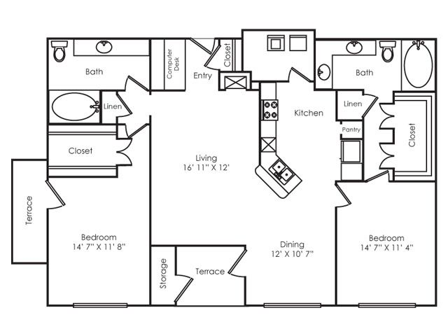 1,300 sq. ft. B3 floor plan
