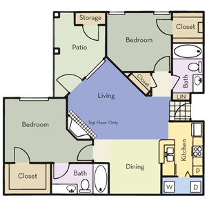 1,082 sq. ft. B2 floor plan