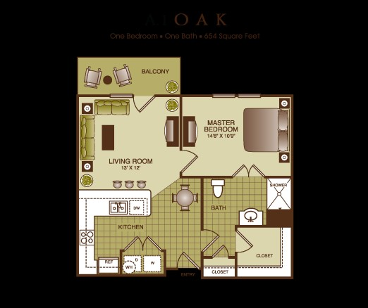 654 sq. ft. Oak floor plan