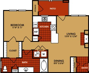 855 sq. ft. to 885 sq. ft. Durango (A3) floor plan