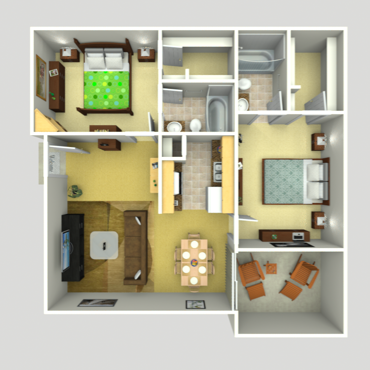 954 sq. ft. C-3 floor plan
