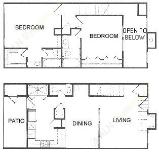 1,278 sq. ft. D floor plan