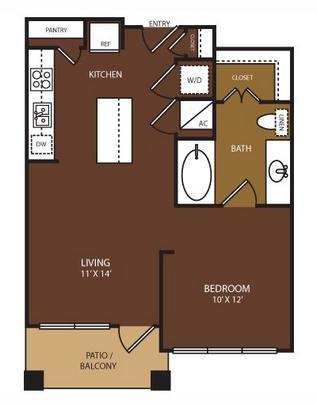 561 sq. ft. Stratford floor plan