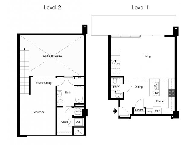 1,061 sq. ft. Loft 1B floor plan