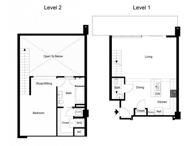 1,061 sq. ft. Loft 1B floor plan