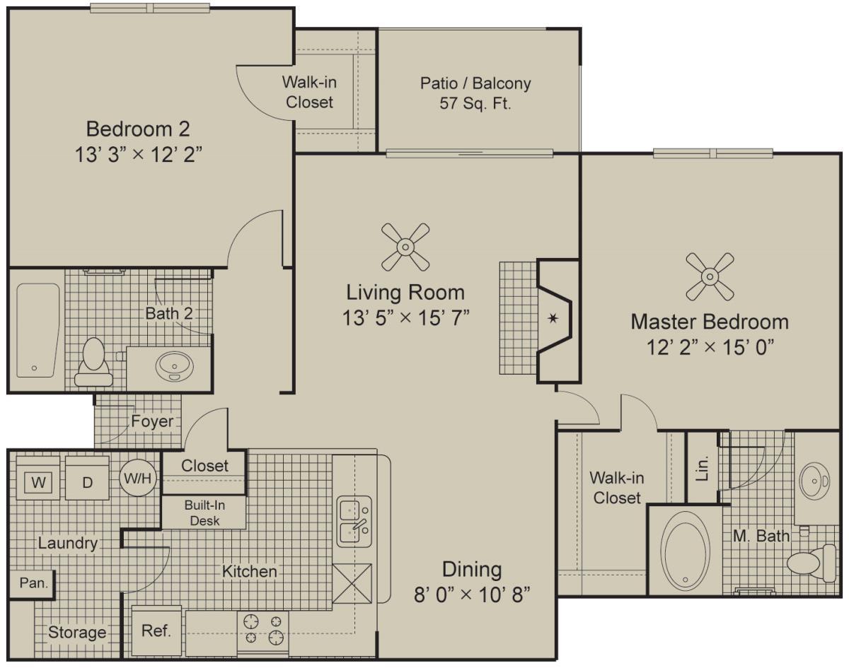 1,155 sq. ft. B2.2 floor plan