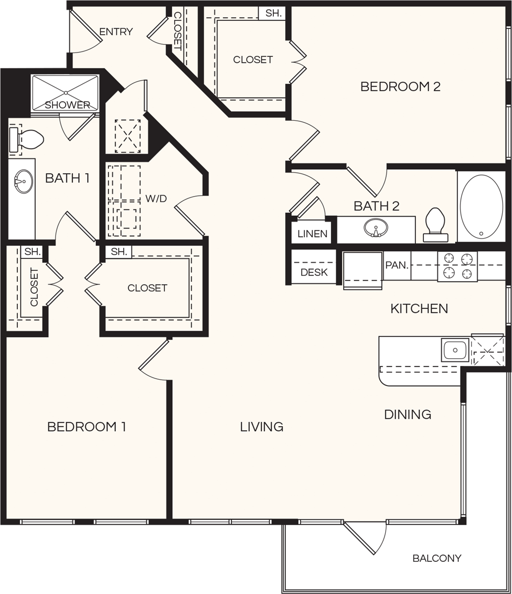 1,334 sq. ft. B2 floor plan