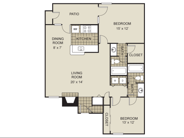 1,000 sq. ft. B5-C floor plan