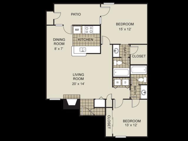 1,000 sq. ft. B5-C floor plan