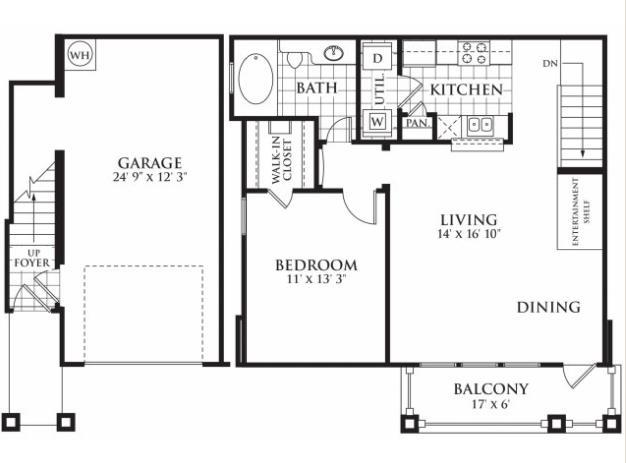785 sq. ft. Hudson floor plan