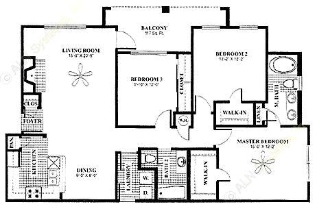 1,355 sq. ft. Solarium floor plan