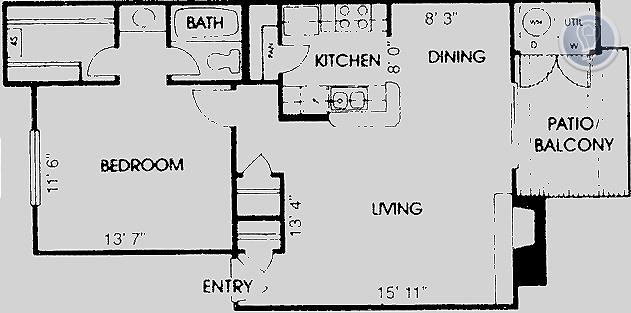 728 sq. ft. A4 floor plan