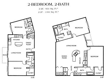 928 sq. ft. 2-2E floor plan