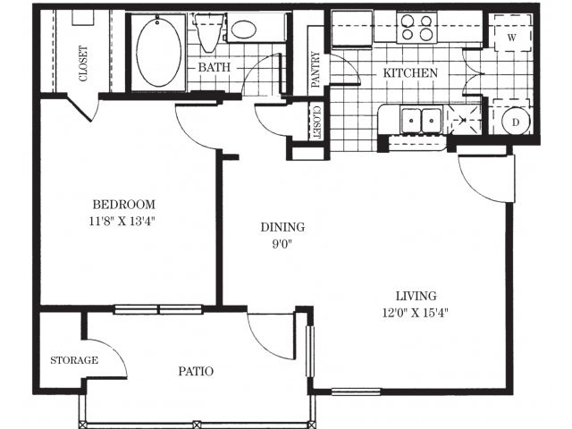 651 sq. ft. A1/Chandon floor plan