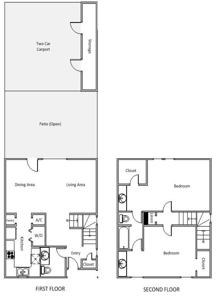 1,116 sq. ft. H floor plan