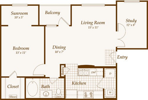 798 sq. ft. Baltic floor plan