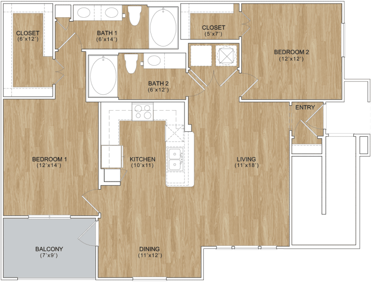 1,120 sq. ft. Sweetbriar floor plan