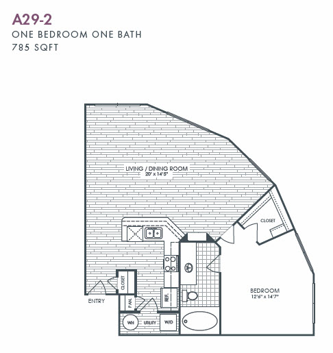 785 sq. ft. A29-2 floor plan