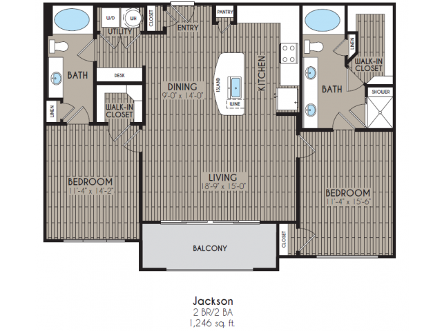 1,246 sq. ft. Jackson floor plan
