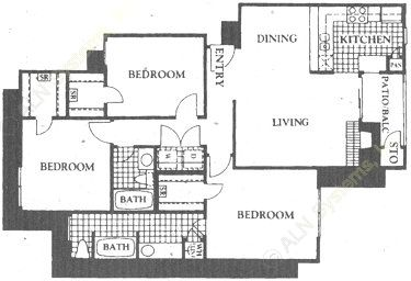 1,174 sq. ft. C1 floor plan