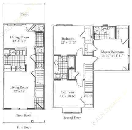 1,208 sq. ft. D floor plan