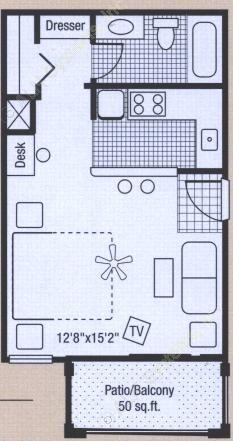 400 sq. ft. to 450 sq. ft. floor plan