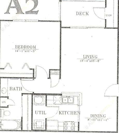 750 sq. ft. A2/Mkt floor plan