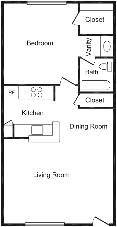 620 sq. ft. floor plan