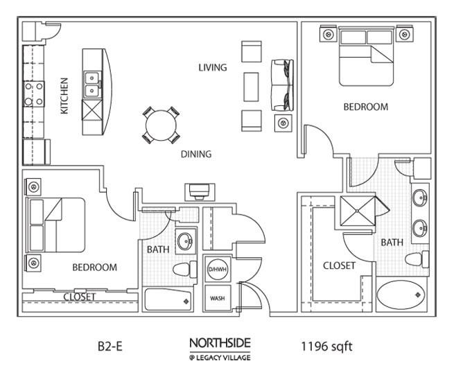 1,196 sq. ft. to 1,272 sq. ft. B2E floor plan