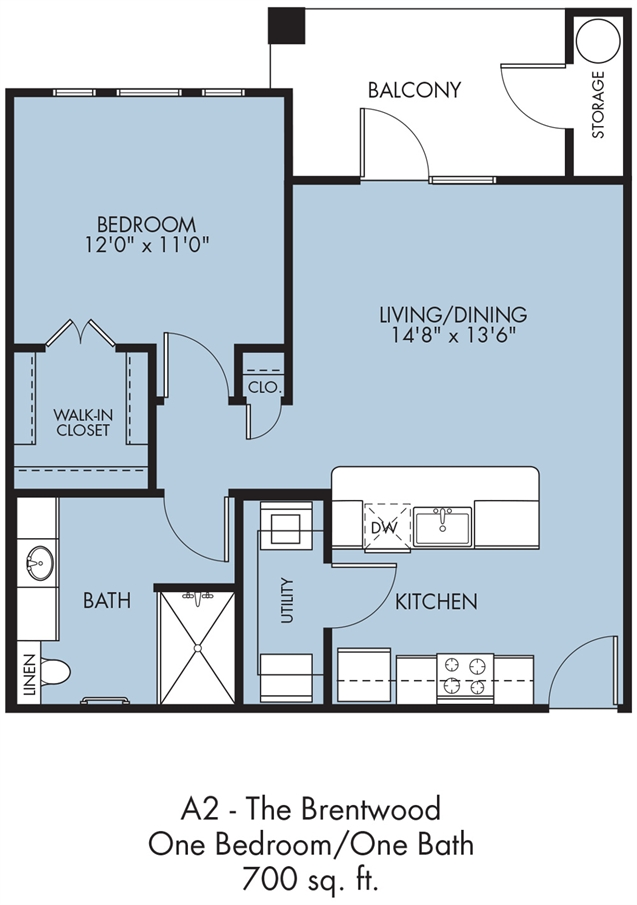 700 sq. ft. Brentwood floor plan