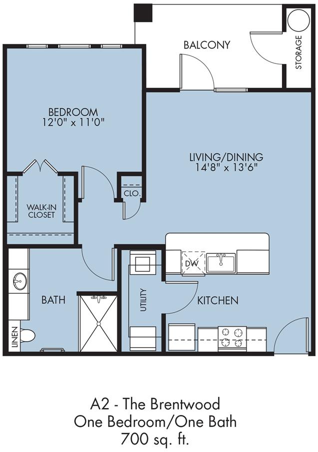700 sq. ft. Brentwood floor plan