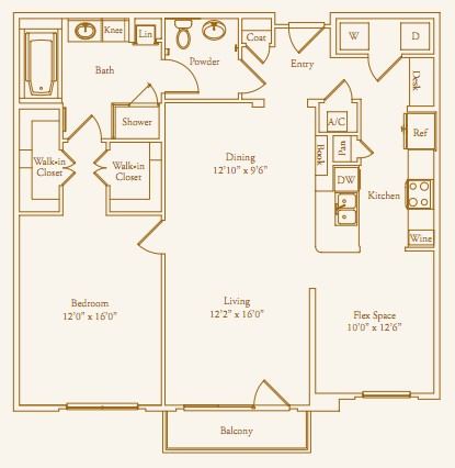 1,184 sq. ft. Claremont floor plan