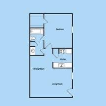 650 sq. ft. 1-1 floor plan