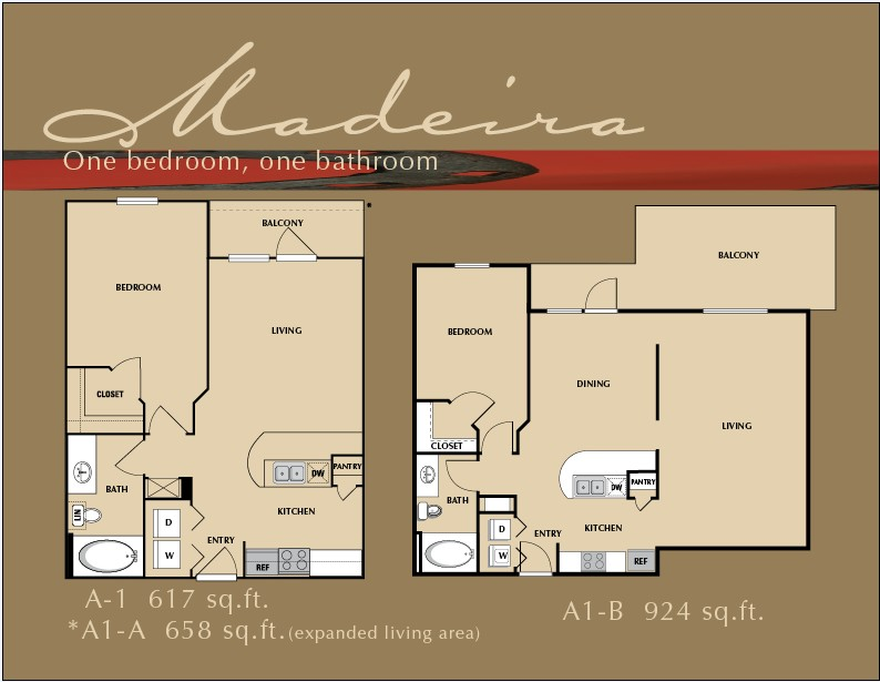 617 sq. ft. A1 floor plan
