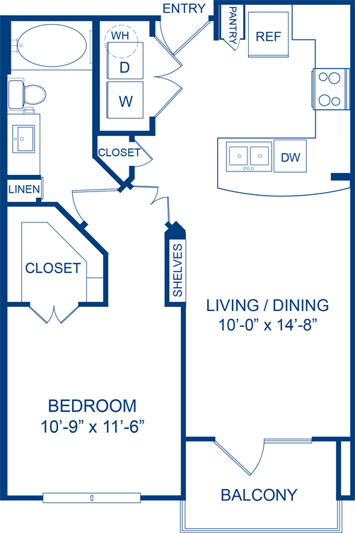 630 sq. ft. Agarita floor plan