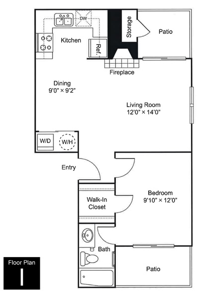 603 sq. ft. to 661 sq. ft. I floor plan