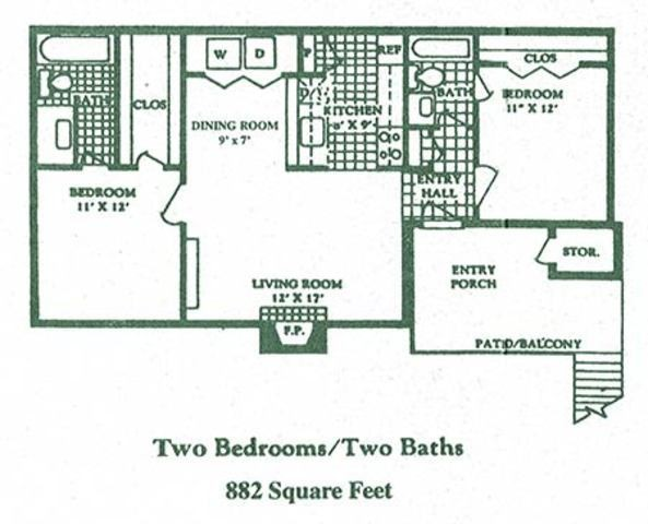 882 sq. ft. El Camino floor plan