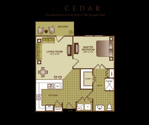 738 sq. ft. Cedar floor plan