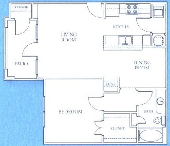 844 sq. ft. A2 floor plan