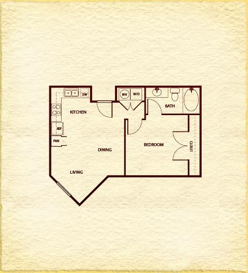 561 sq. ft. A100 floor plan