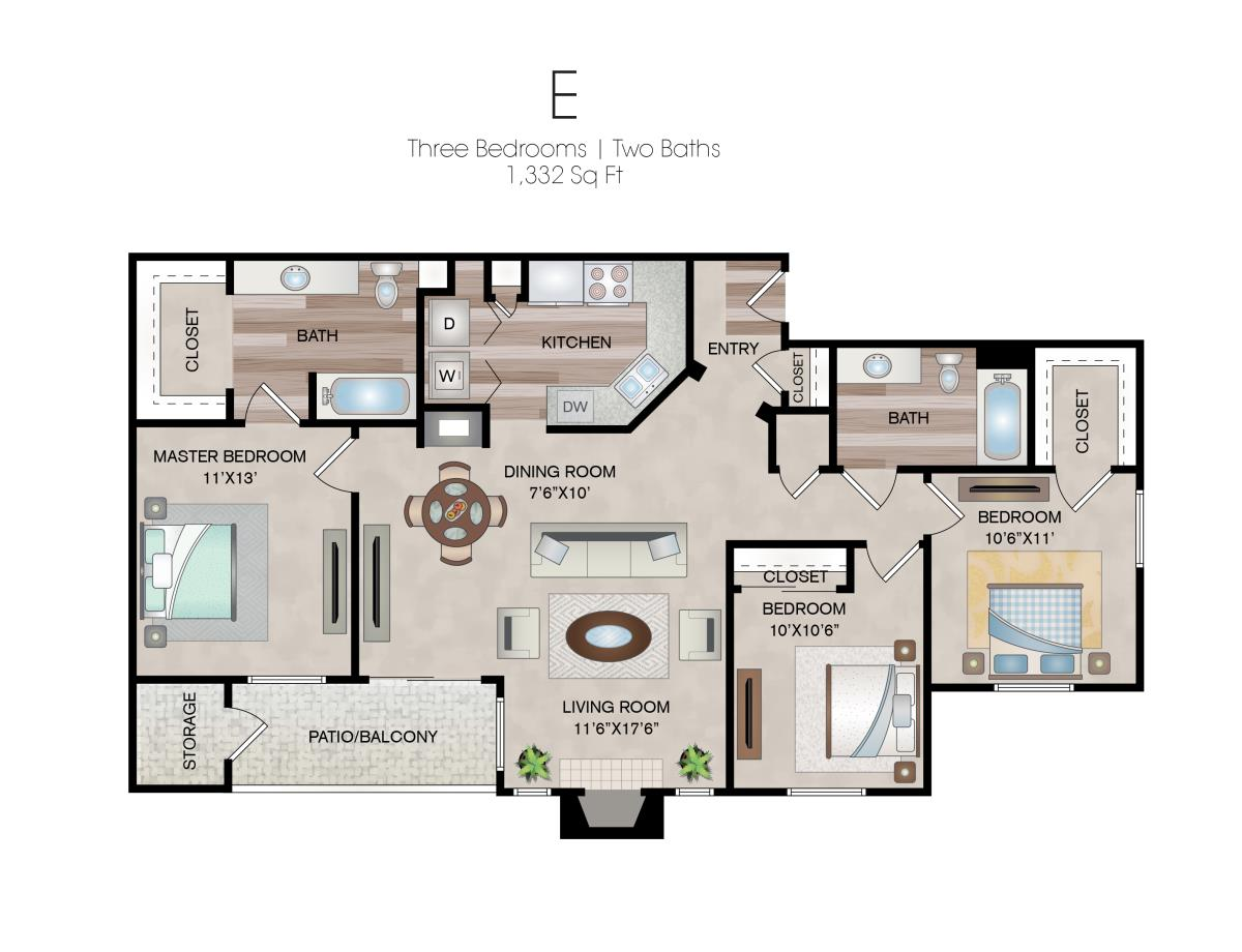 1,332 sq. ft. E floor plan